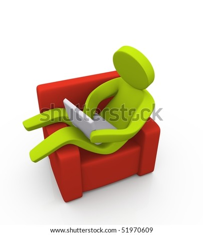 3d person operating a notebook while relaxing on the sofa
