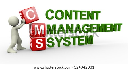 3d person placing cms content management system cubes. 3d human people character illustration