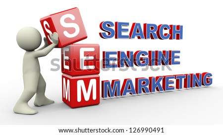 3d person placing sem - search engine marketing cubes. 3d human people character illustration