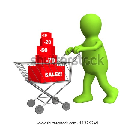 3d person - puppet, bought the goods at a discount. Objects over white