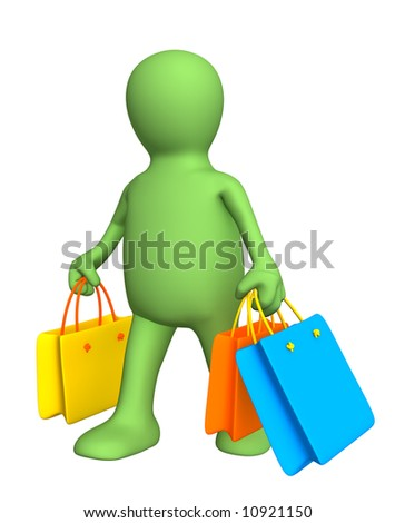3d person - puppet, carrying packages with purchases. Objects over white