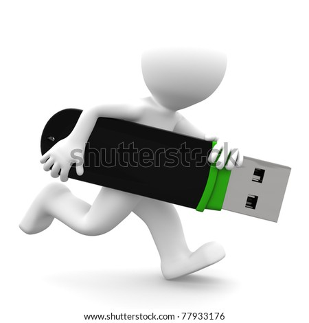 3d person running with USB flash drive. Isolated on white background