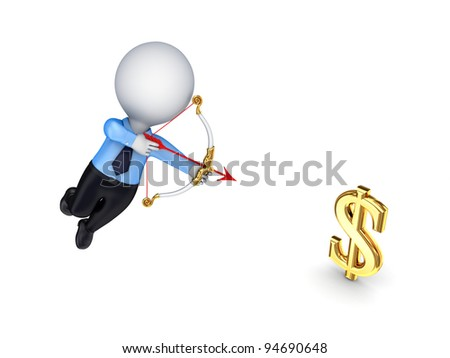 3d person shooting an arrow at a symbol of dollar.Isolated on white background.