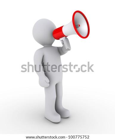 3d person shouting through megaphone