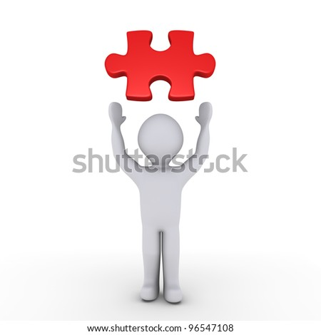 3d person showing a red puzzle piece above him