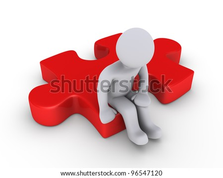 3d person sitting on red puzzle piece