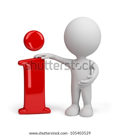 3d person standing near to an information icon. 3d image. Isolated white background.