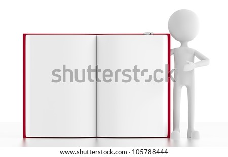 3d person stands next to an open blank book, with room for your text or image. 3d image. isolated white background.