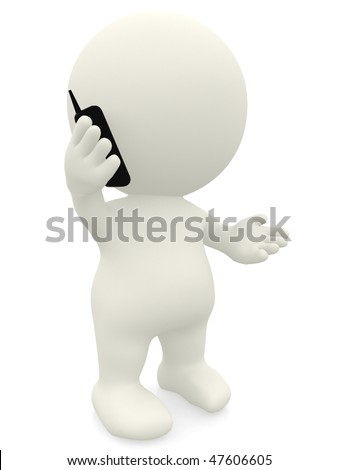 3D person talking on the phone - isolated over a white background