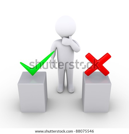 3d person thinking behind two podiums which have right and wrong symbols
