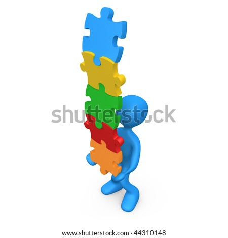 3d person trying to balance a pile of puzzle pieces.