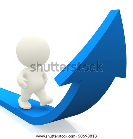 3D person walking on curved arrow isolated over a white background