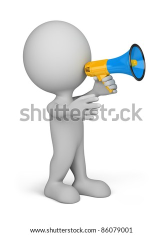 3d person with a blue megaphone in hand. 3d image. Isolated white background. - stock photo