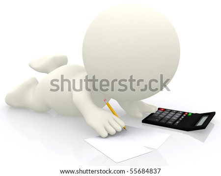 3D person with a calculator studing maths - isolated over a white background