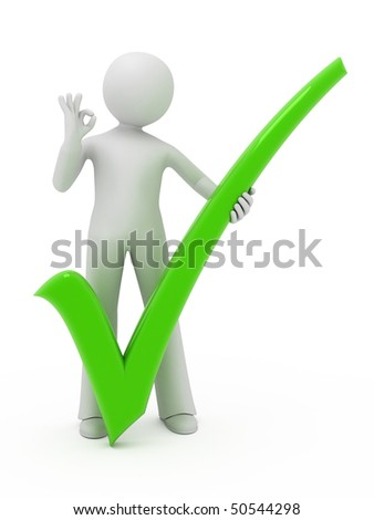3d person with check mark isolated on white.