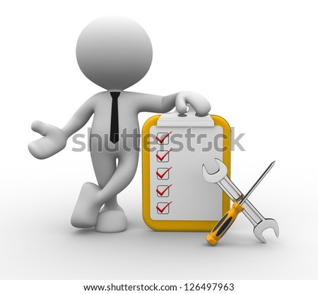 3d person with checklist and tools.  Screwdriver and wrench