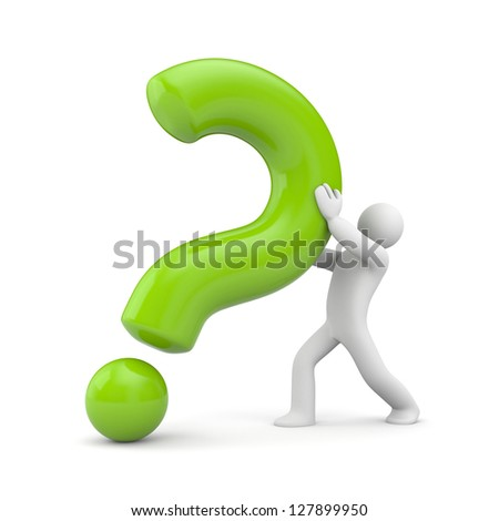 3d Person With Green Question Mark Stock Photo 127899950    Question Mark Person Green