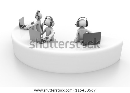 3d person with headphone and a laptop. Call center. - stock photo