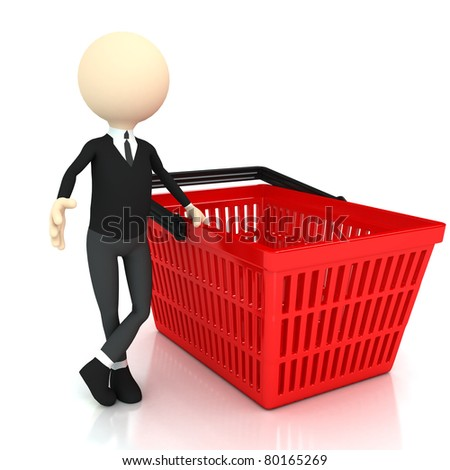 3d person with Shopping basket. 3d rendered image