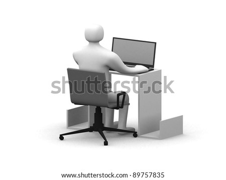 3d person work on laptop - this is 3d render illustration