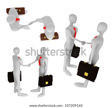 3D persons shaking their hands