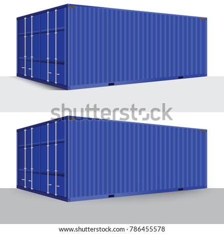 3d perspective blue cargo container shipping freight isolated texture pattern background