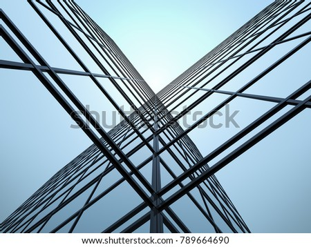 3D perspective stimulated of high rise glass building and dark steel window system on blue clear sky background,Business concept of future architecture.