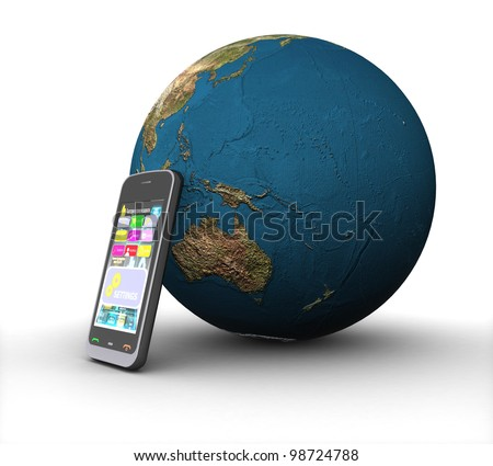 3D phone and land on a white background isolated
