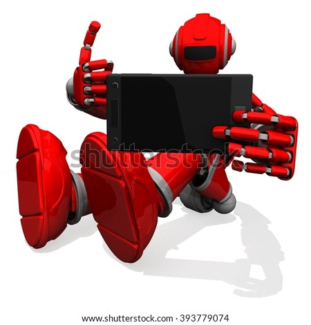 3D Photographer Robot Red Color, Self-Portrait Photograph with Phone Camera, Thumbs Up - Shutterstock ID 393779074