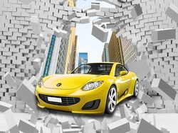 3d picture of a yellow car in a destroyed wall