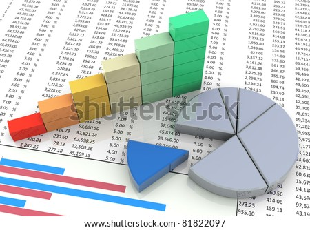 3d pie and progress bars chart on the background of spreadsheet - stock photo