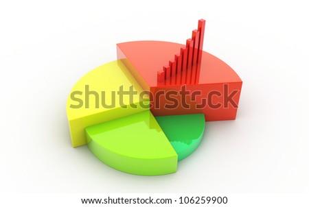 3d Pie chart business concept