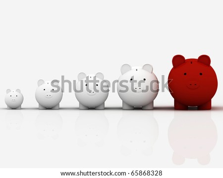 3d pig banks in a row showing growth