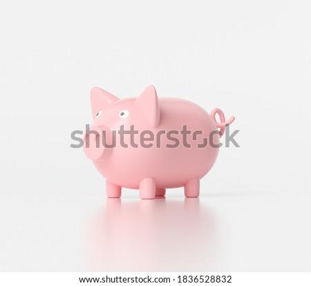 3D Piggy bank on white background, piggy bank icon. 3d rendering illustration.
