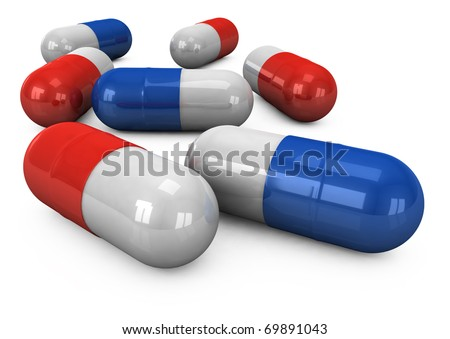 3d pills on a white background