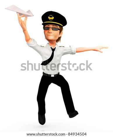 3D pilot with a paper airplane - isolated over a white background