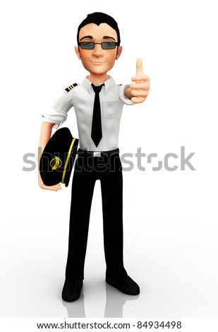 3D pilot with thumbs up - isolated over a white background