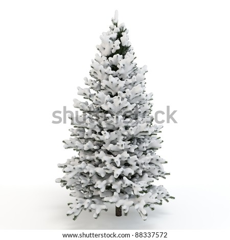 3d pine tree full of snow on white background