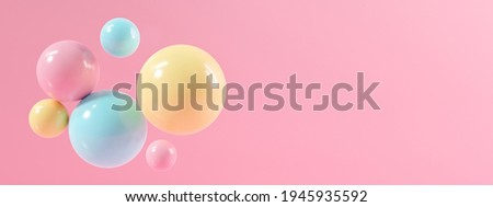3d pink background abstract texture with bubble party. Realistic 3d rendering for display product, backdrop, banner on website. Minimal mockup with glossy sphere of balls on pastel color. Foto stock ©