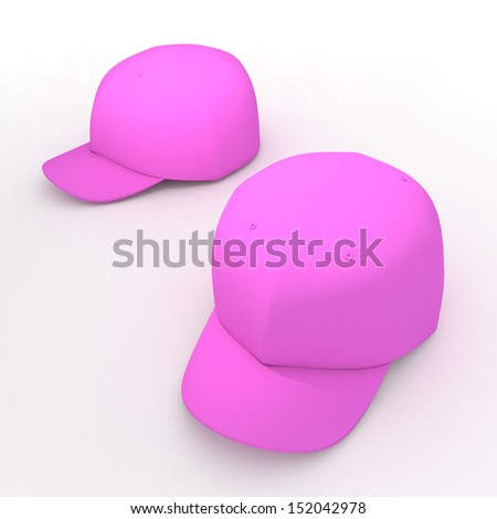 3d pink baseball cap, baseball hat, headgear blank template in isolated background with clipping paths, work paths included