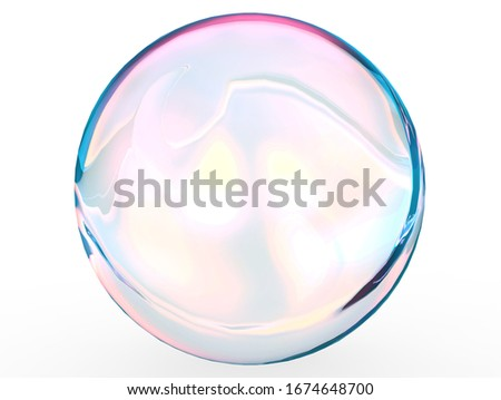 3d pink blue ball crystal gradient colors isolated on white background. Abstract bubble glossy pastel 3d geometric shape object illustration render.