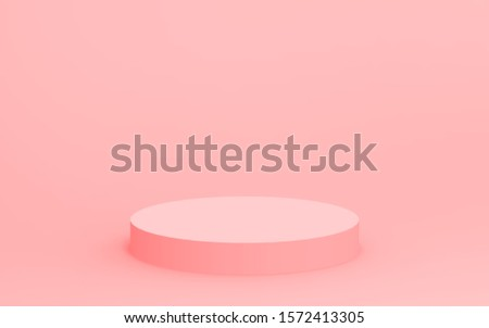 3d pink cylinder podium minimal studio background. Abstract 3d geometric shape object illustration render. Display for valentine product.