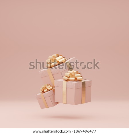 3D Pink gift box with golden ribbon bow levitating on pastel pink background. Flying present abstract commercial for woman. Creative realistic minimal gifts. Banner with copy space for text. 3d render