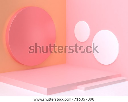 3d pink orange corner scene abstract minimal geometric background 3d rendering