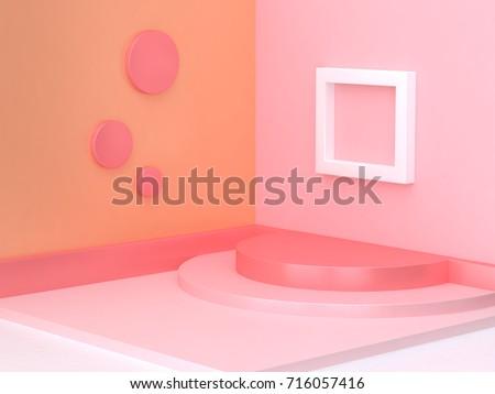 3d pink orange corner scene minimal abstract background geometric shape 3d rendering