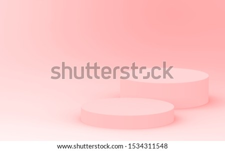 3d pink orange cylinder podium minimal studio background. Abstract 3d geometric shape object illustration render. Display for cosmetic perfume fashion product. Color of the year 2019 Living Coral.