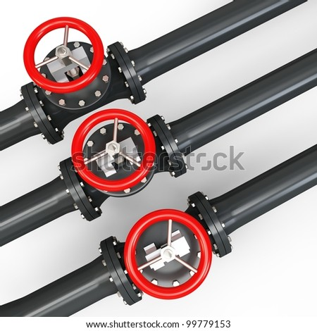 3d pipe and oil valve on white background