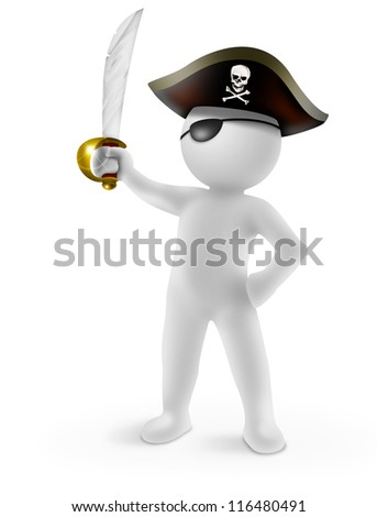 3d pirate with saber on white background