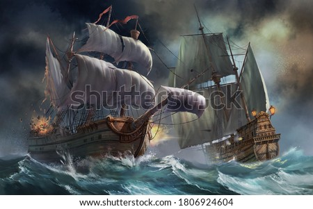3d pirates ships in sea storm Foto stock ©