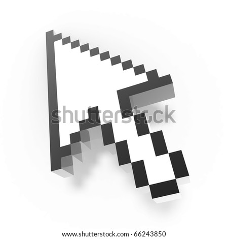 3d pixel arrow cursor isolated on white background